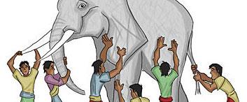 Six blindmen touching an elephant cropped.