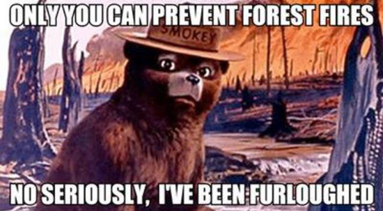 Smokey the bear is furloughed.