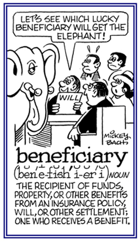 The recipient of funds, property, or other objects from a will.