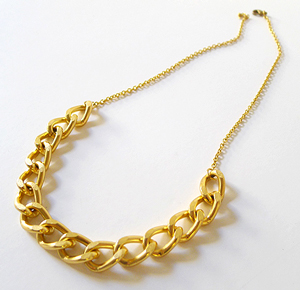 A gold necklace.