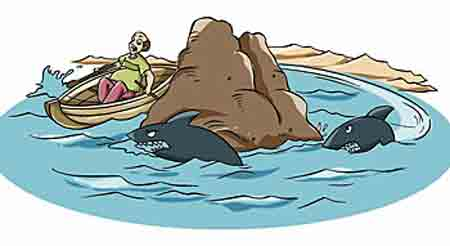 A man is trying to circumnavigate a rock formation in an effort to avoid sharks.