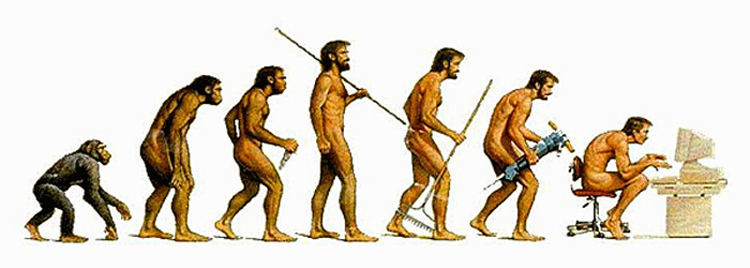 The changes in mankind from primitive to modern existence.