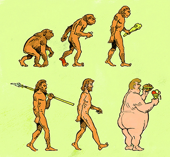 The changes in mankind over the centuries.
