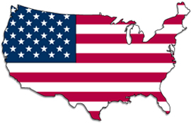 American flag in the form of the United States country.