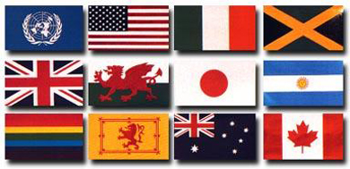 Twelve flags of the world.