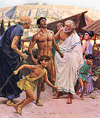 Pheidippides was running from Marathon to Athens about the Greek victory.