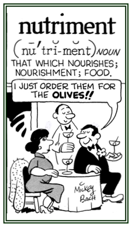 Food that is a nourishment or nourishes the eater.