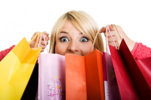 Feeling joy and happiness about shopping.