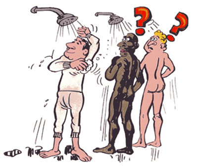 A man is taking a shower with his under ware on with other men.