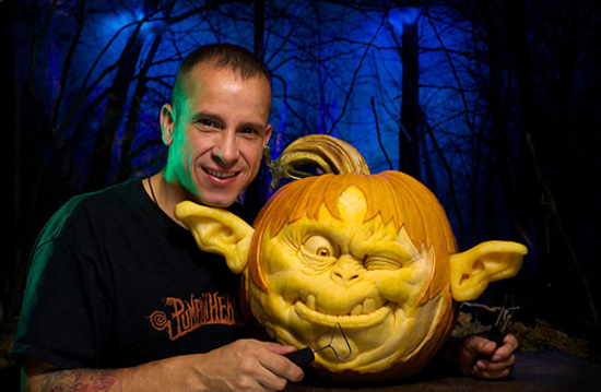 Ray Villafane and one of his special pumpkin creations.