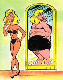 A slim girl has a fear of seeing herself in a mirror as being overweight.