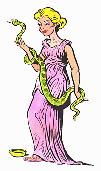 Aesculapian snake serving and the goddess Hygiea.